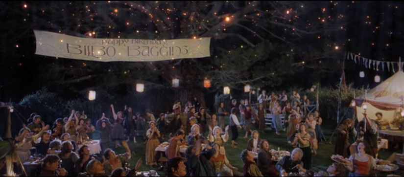 Birthday party scene from Peter Jackson's Fellowship of the Ring
